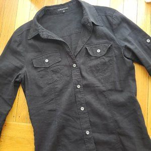 Theory Black Linen Blend Button Down Top